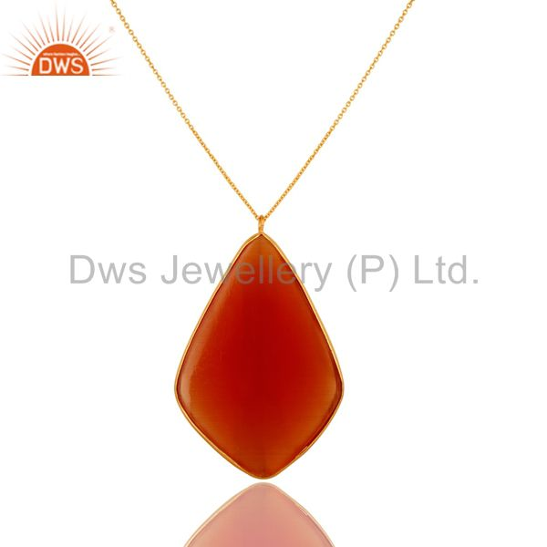 Exporter Faceted Peach Moonstone Bezel Set 18K Gold Plated Sterling Silver Pendant Chain