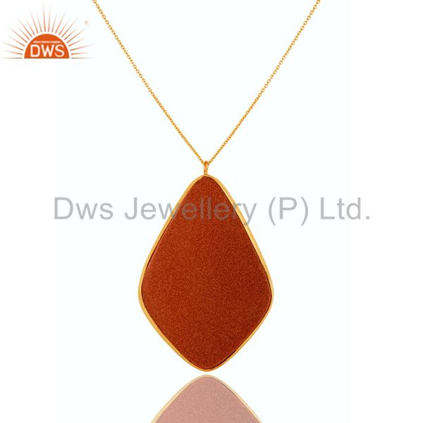 Exporter 18K Gold Plated Sterling Silver Faceted Sand Stone Bezel Set Pendant With Chain