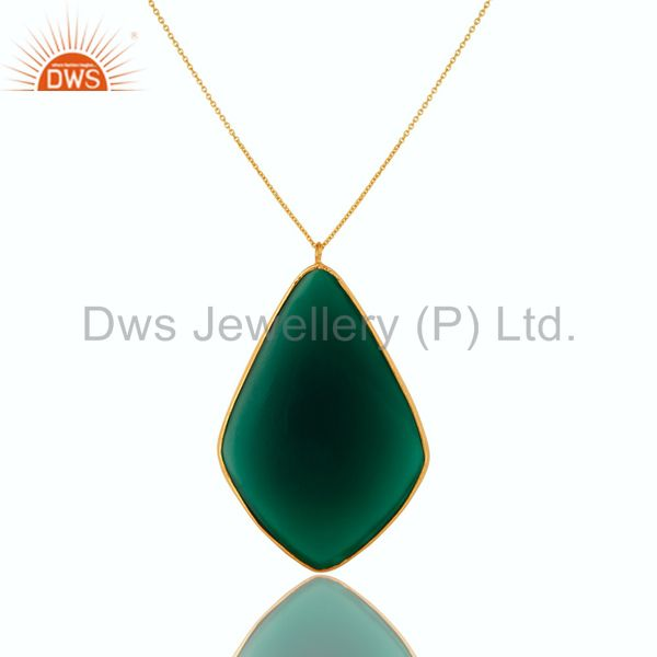 Exporter 18K Gold Plated Sterling Silver Faceted Green Onyx Bezel Set Pendant With Chain