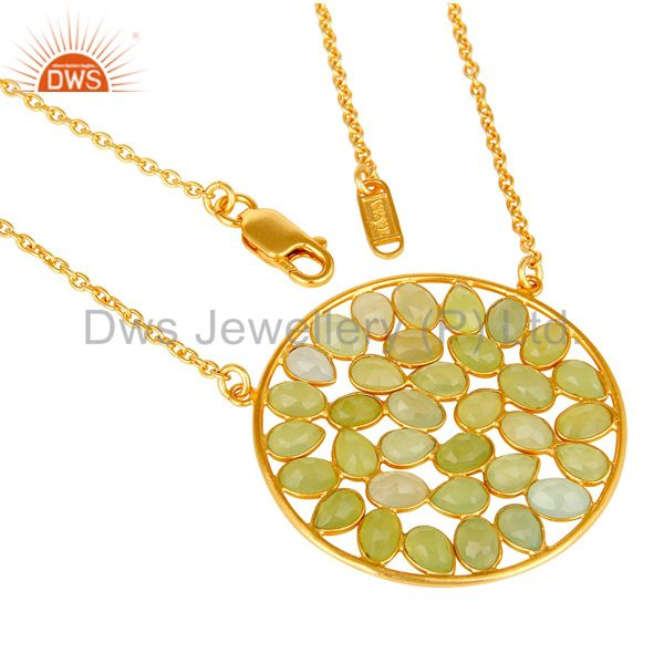 Exporter 18K Yellow Gold Plated Sterling Silver Dyed Aqua Chalcedony Pendant Necklace