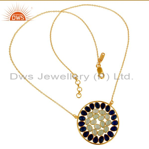 Exporter 18K Gold Plated Sterling Silver Chalcedony & Corrundum Pendant Chain Necklace
