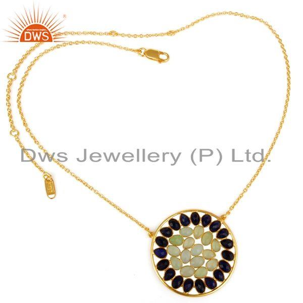 Exporter 18K Yellow Gold Plated Sterling Silver Prehnite Chalcedony Sapphire Necklace