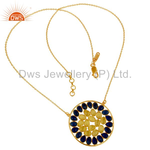 Exporter 18K Gold Plated Sterling Silver Corrundum & Moonstone Pendant Chain Necklace