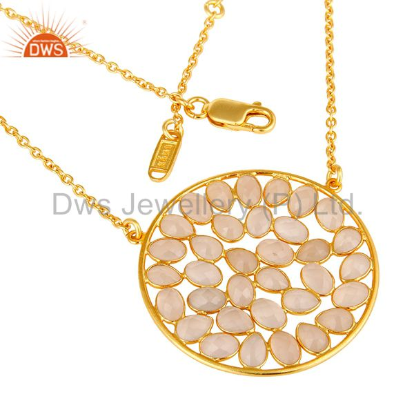 Exporter 18K Yellow Gold Plated Sterling Silver Dyed Rose Chalcedony Pendant Necklace
