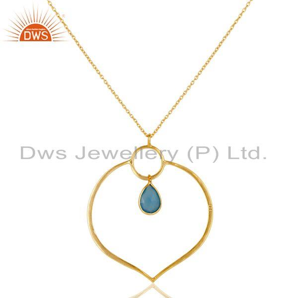 Exporter 18K Gold PLated Sterling Silver Simple Set Pendant Necklace with Chalcedony