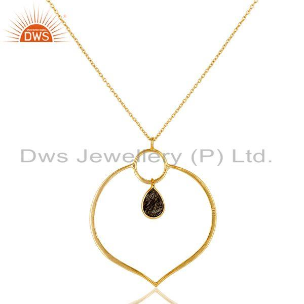 Exporter 18K Gold PLated Sterling Silver Simple Set Pendant Necklace with Black Routile