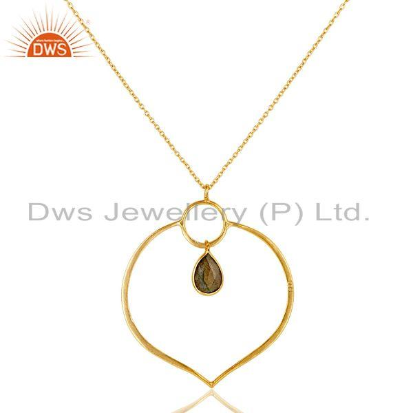 Exporter 18K Gold PLated Sterling Silver Simple Set Pendant Necklace with Labradorite