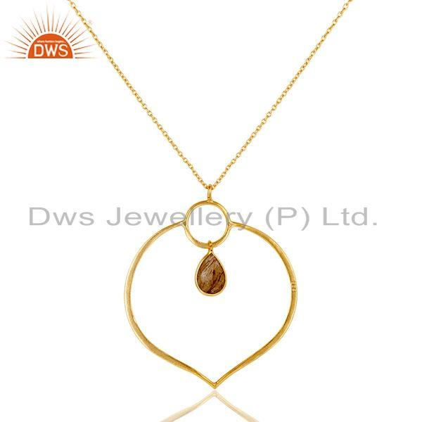Exporter 18K Gold PLated Sterling Silver Simple Set Pendant Necklace with Rutile