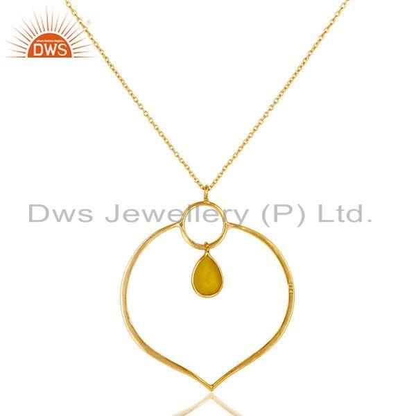 Exporter 18K Gold PLated Sterling Silver Simple Pendant Chain Necklace with Chalcedony