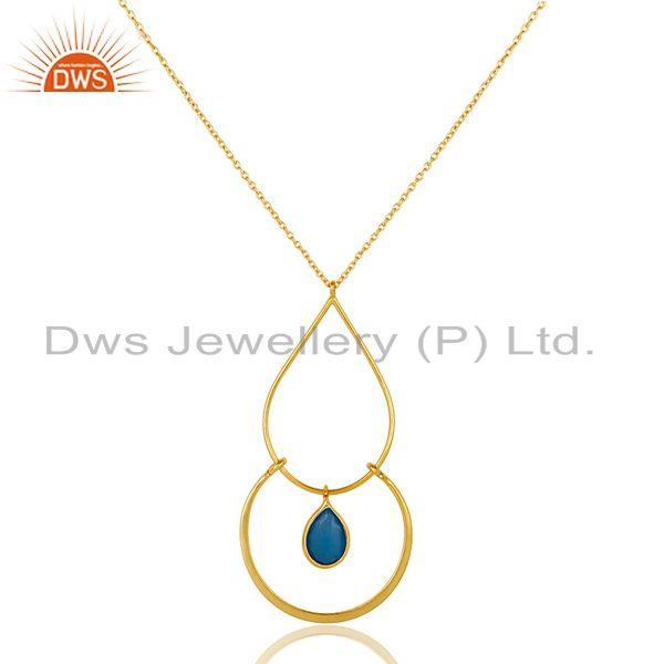 Exporter Chalcedony With 18K Gold PLated Sterling Silver Simple Pendant Chain Necklace