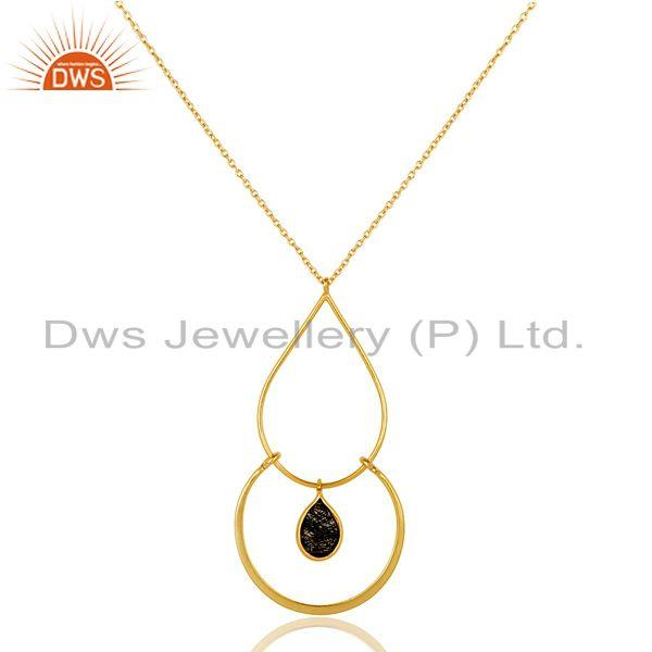 Exporter Chalcedony With 18K Gold PLated 925 Sterling Silver Pendant Chain Necklace
