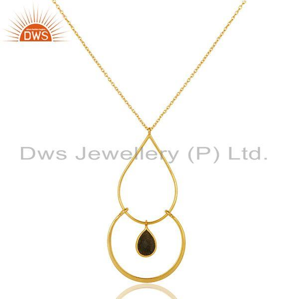 Exporter Traditional 18K Gold PLated 925 Sterling Silver Pendant Chain Necklace With Lab