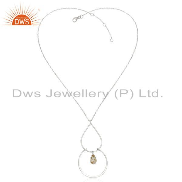 Exporter New 925 Sterling Silver Golden Rutile Gemstone Handmade Chain Pendant