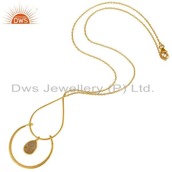 Exporter Traditional 18K Gold PLated 925 Sterling Silver Pendant Chain With Routile
