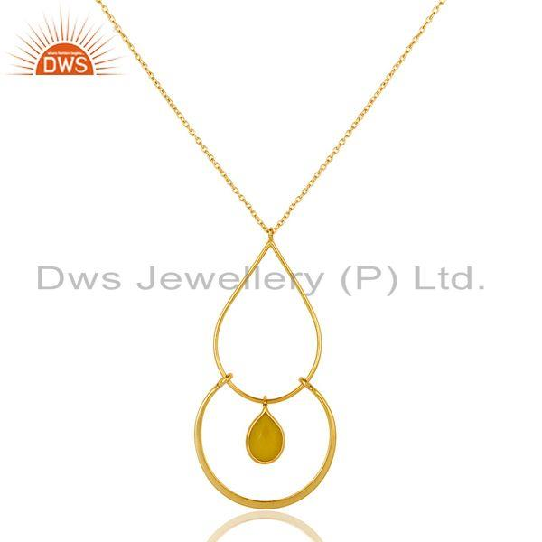 Exporter Traditional Design 18K Gold PLated 925 Sterling Silver Pendant Chain Necklace