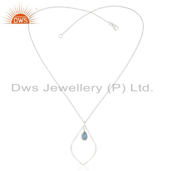 Exporter Traditional Design Solid Sterling Silver Dyed Chalcedony Chain Pendant Necklace