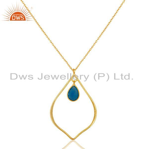 Exporter Traditional Design 18K Gold PLated Sterling Silver Pendant Necklace Chalcedony