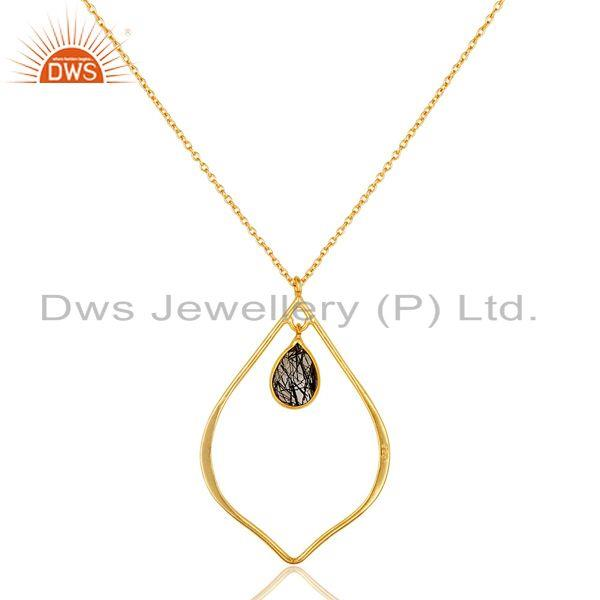 Exporter Designer 18K Gold PLated Sterling Silver Pendant ChainNecklace Routile