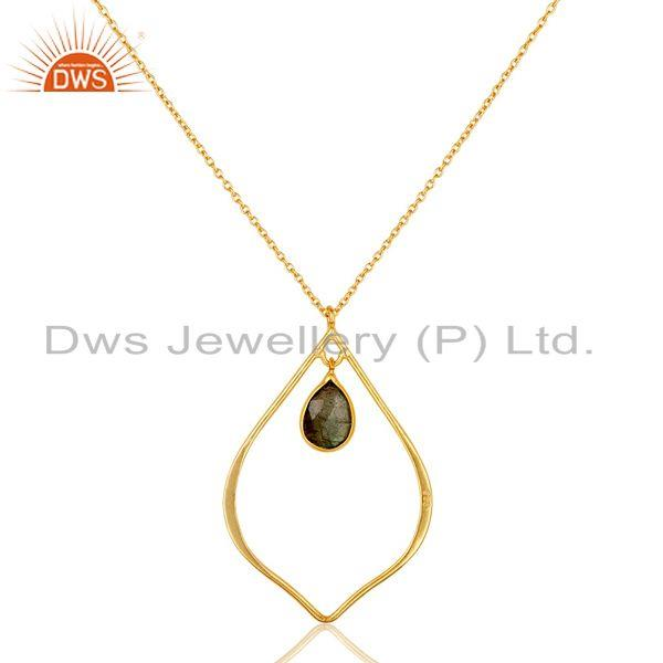Exporter Designer 18K Gold PLated Sterling Silver Pendant Chain Necklace Labradorite