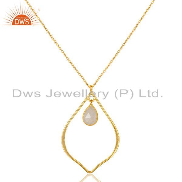 Exporter Moonstone 18K Gold PLated Sterling Silver Pendant Chain Necklace