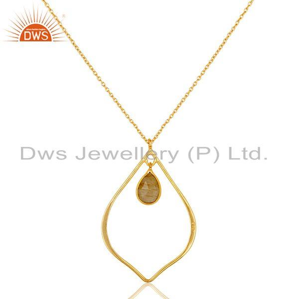 Exporter Rutile 18K Gold Plated Sterling Silver Pendant Chain Necklace