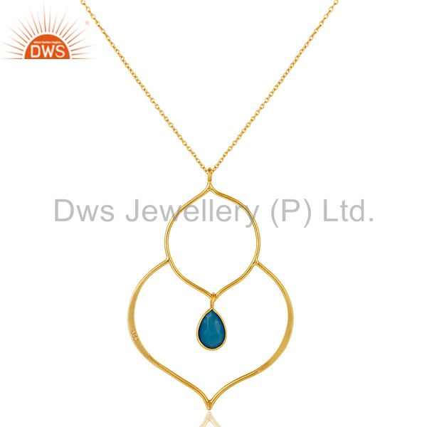 Exporter 18K Gold PLated Sterling Silver Bazel Set Pendant Chain Necklace with Chalcedony