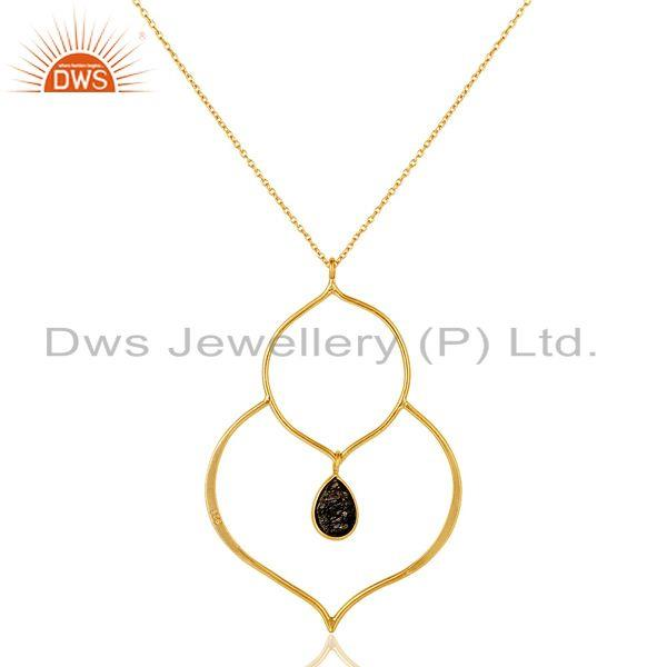 Exporter 18K Gold PLated Sterling Silver Bazel Set Pendant Chain Necklace with Routile
