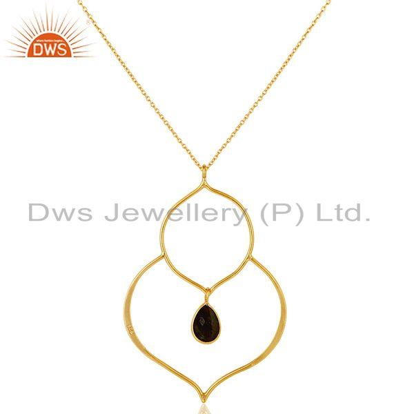 Exporter 18K Gold PLated Sterling Silver Set Pendant Chain Necklace with Labradorite