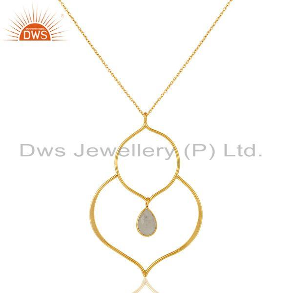 Exporter 18K Gold PLated Sterling Silver Set Pendant Chain Necklace with Moonstone