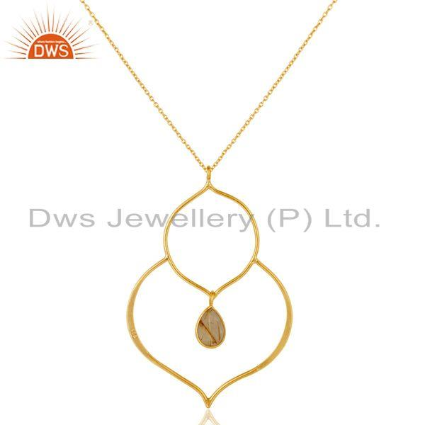 Exporter 18K Gold PLated Sterling Silver Set Pendant Chain Necklace with Rutile