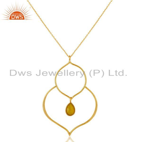 Exporter 18K Gold PLated Sterling Silver Set Pendant Chain Necklace with Chalcedony