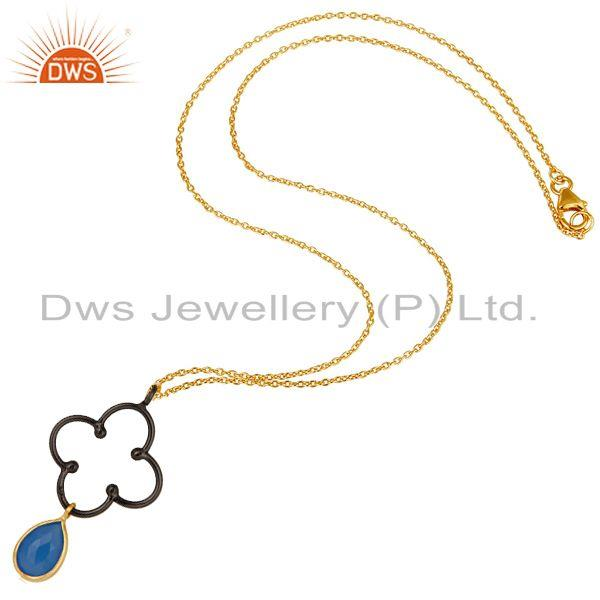 Exporter 18K Gold Plated & Black Oxidized Sterling Silver Dyed Chalcedony Chain Pendant