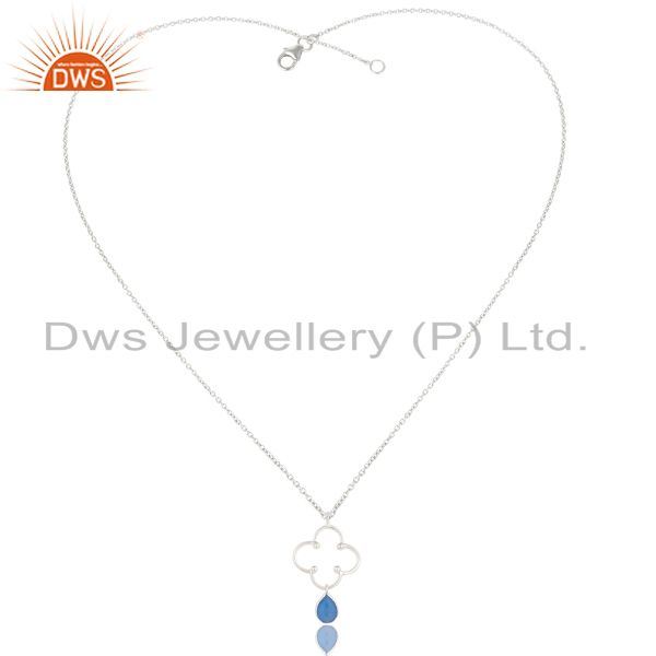 Exporter Indian Handmade Solid Sterling Silver Dyed Chalcedony Bezel Set Chain Pendant