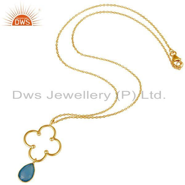 Exporter 18K Gold PLated 925 Sterling Silver Set Pendant Chain Necklace with Chalcedony