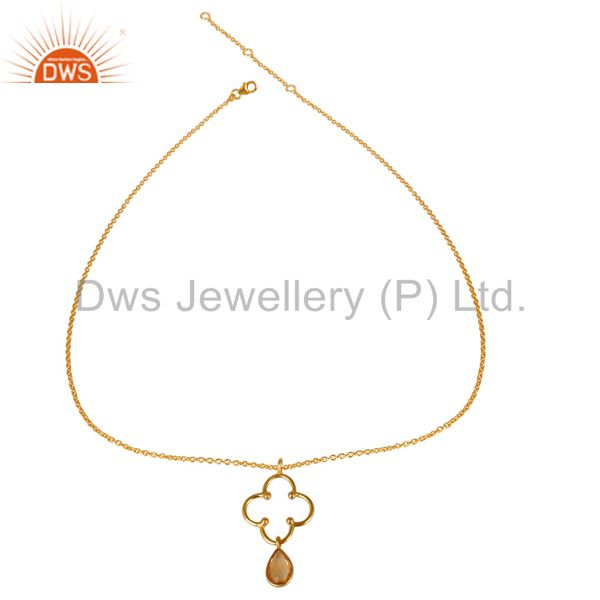 Exporter 14K Yellow Gold Plated 925 Sterling Silver Handmade Citrine Chain Pendant