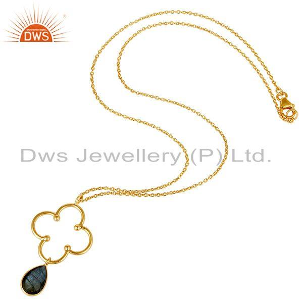 Exporter 18K Gold PLated 925 Sterling Silver Set Pendant Chain Necklace with Labradorite