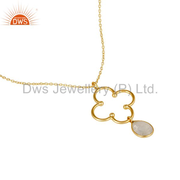 Exporter 18K Gold PLated 925 Sterling Silver Set Pendant Chain Necklace with Moonstone