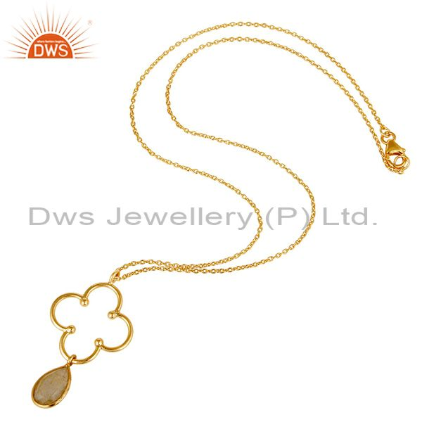 Exporter 18K Gold PLated 925 Sterling Silver Set Pendant Chain Necklace with Routile