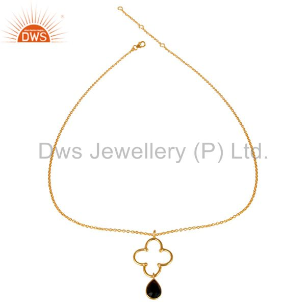 Exporter 14K Yellow Gold Plated 925 Sterling Silver Smokey Topaz Chain Pendant