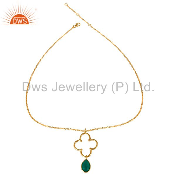 Exporter 14K Yellow Gold Plated 925 Sterling Silver Green Onyx Chain Pendant