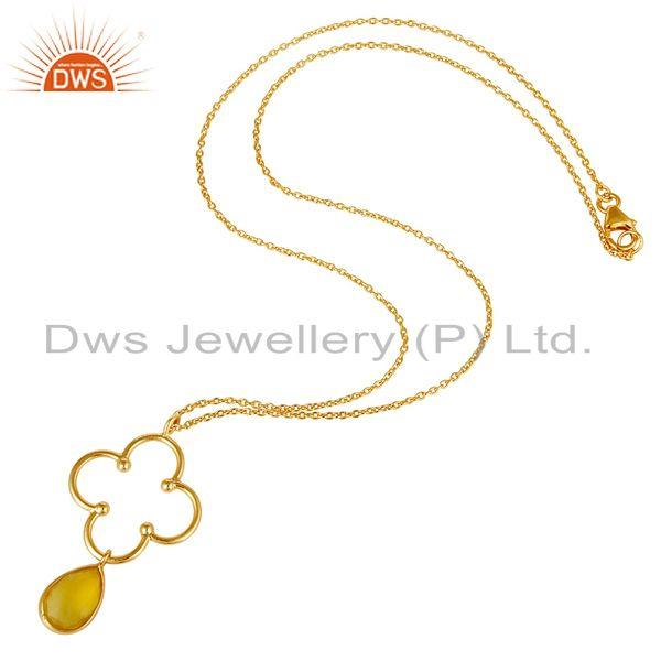 Exporter Chalcedony with 18K Gold PLated 925 Sterling Silver Set Pendant Chain Necklace