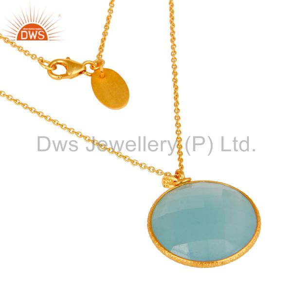 Exporter 18K Gold Plated 925 Sterling Silver Cultured Aqua Stone Bezel Set Chain Pendant