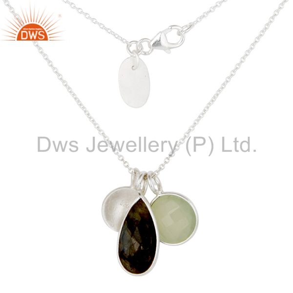 Exporter Solid 925 Sterling Silver Chalcedony & Labradorite 3 Set Gemstone Chain Pendant