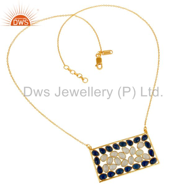 Exporter Chalcedony and Corrundum 18k Gold Plated Sterling Silver Pendant With Chain