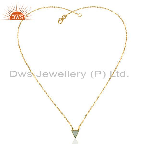 Exporter Aqua Chalcedony Triangle Small Pendant,Trendy Pendent Gold Plated Silver Jewelry