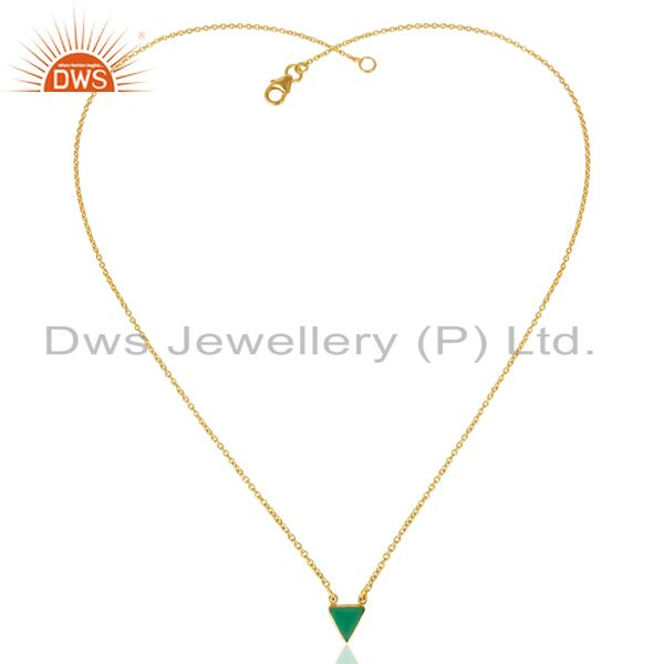Exporter Green Onyx Triangle Small Pendant,Trendy Pendent Gold Plated Silver Jewelry