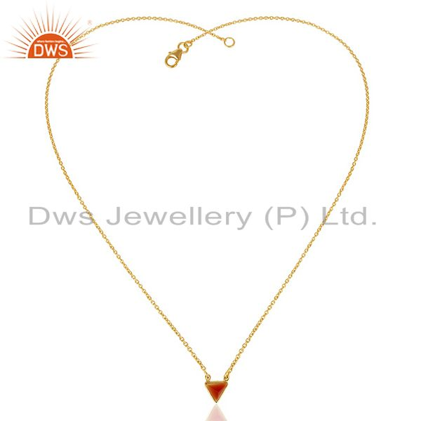 Exporter Red Onyx Triangle Small Pendant,Trendy Pendent Gold Plated Silver Jewelry