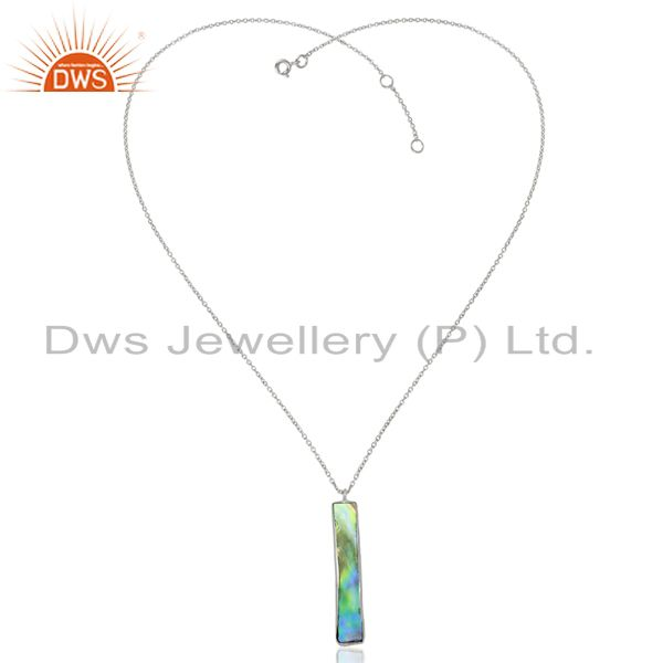 Exporter Natural Abalone Shell Rectangle Sterling Silver White Rhodium Plated Pendants