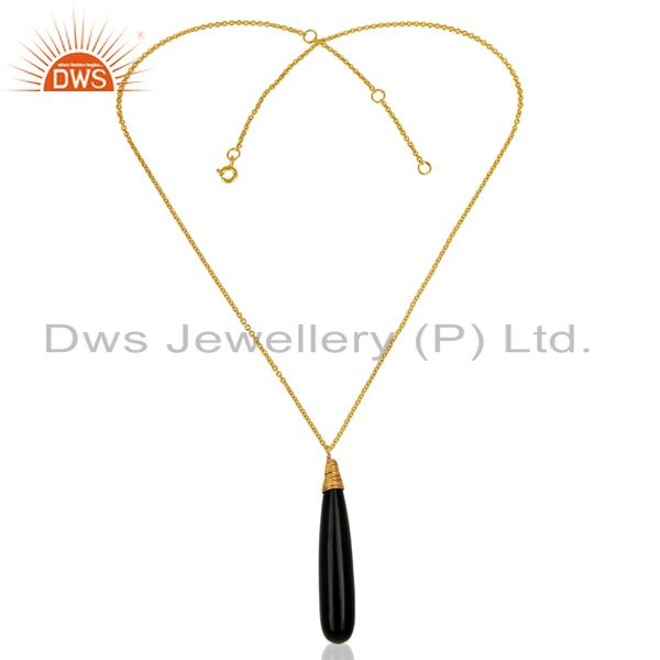 Exporter Black Onyx 40mm Long Drop Sterling Silver 14k Gold Plated Pendant And Necklace