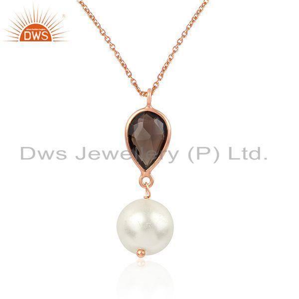 Exporter Smoky Quartz Pearl Rose Gold Plated 925 Silver Chain Pendant Jewelry